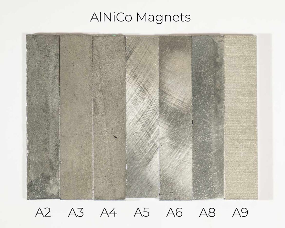 Alnico magnets for electric guitar pickups