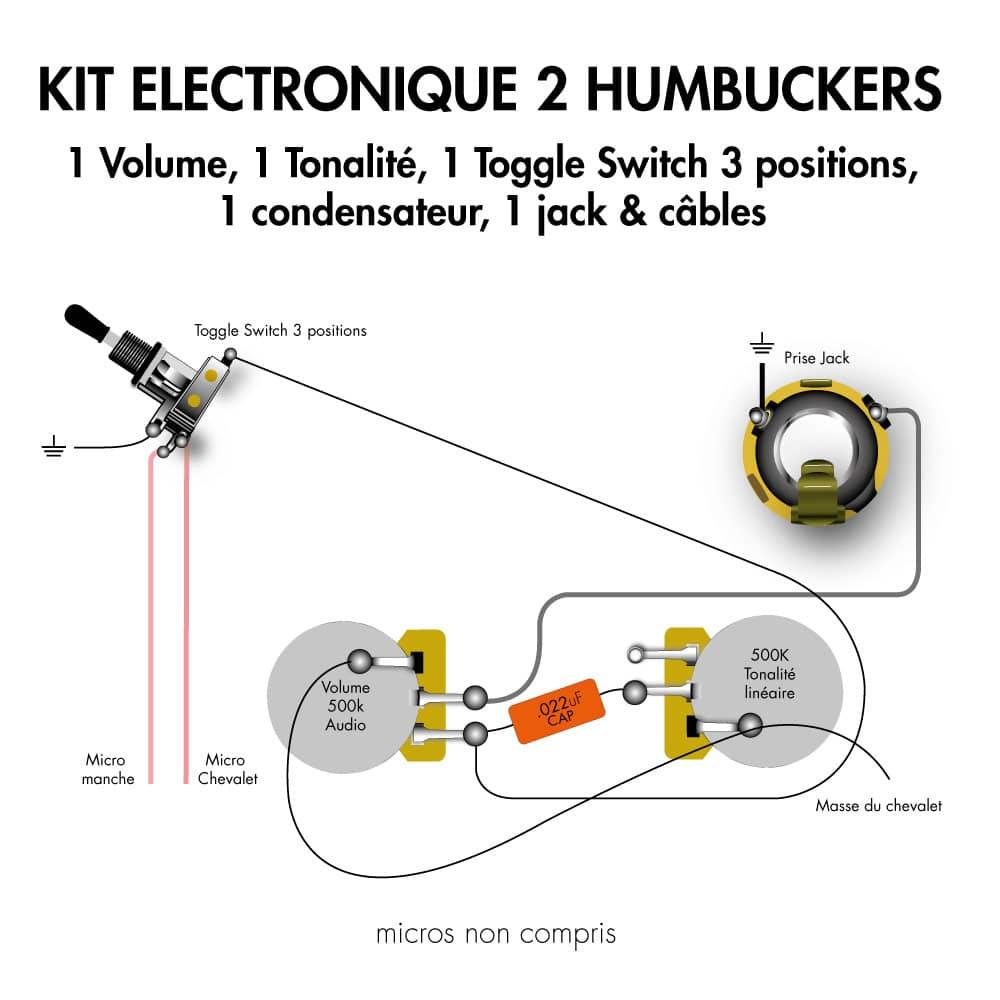 Kit electronique guitare electrique 2 humbucker toggle switch 3 position jack condensateur haut de gamme