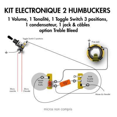 Kit electronique guitare electrique 2 humbucker toggle switch 3 position jack condensateur et treble bleed haut de gamme